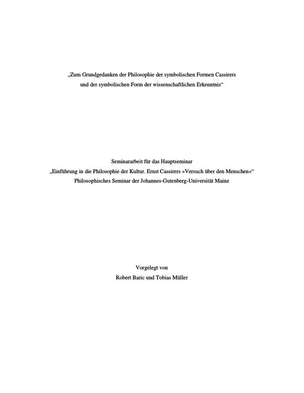 Titel: Zum Grundgedanken der Philosophie der symbolischen Formen Cassirers