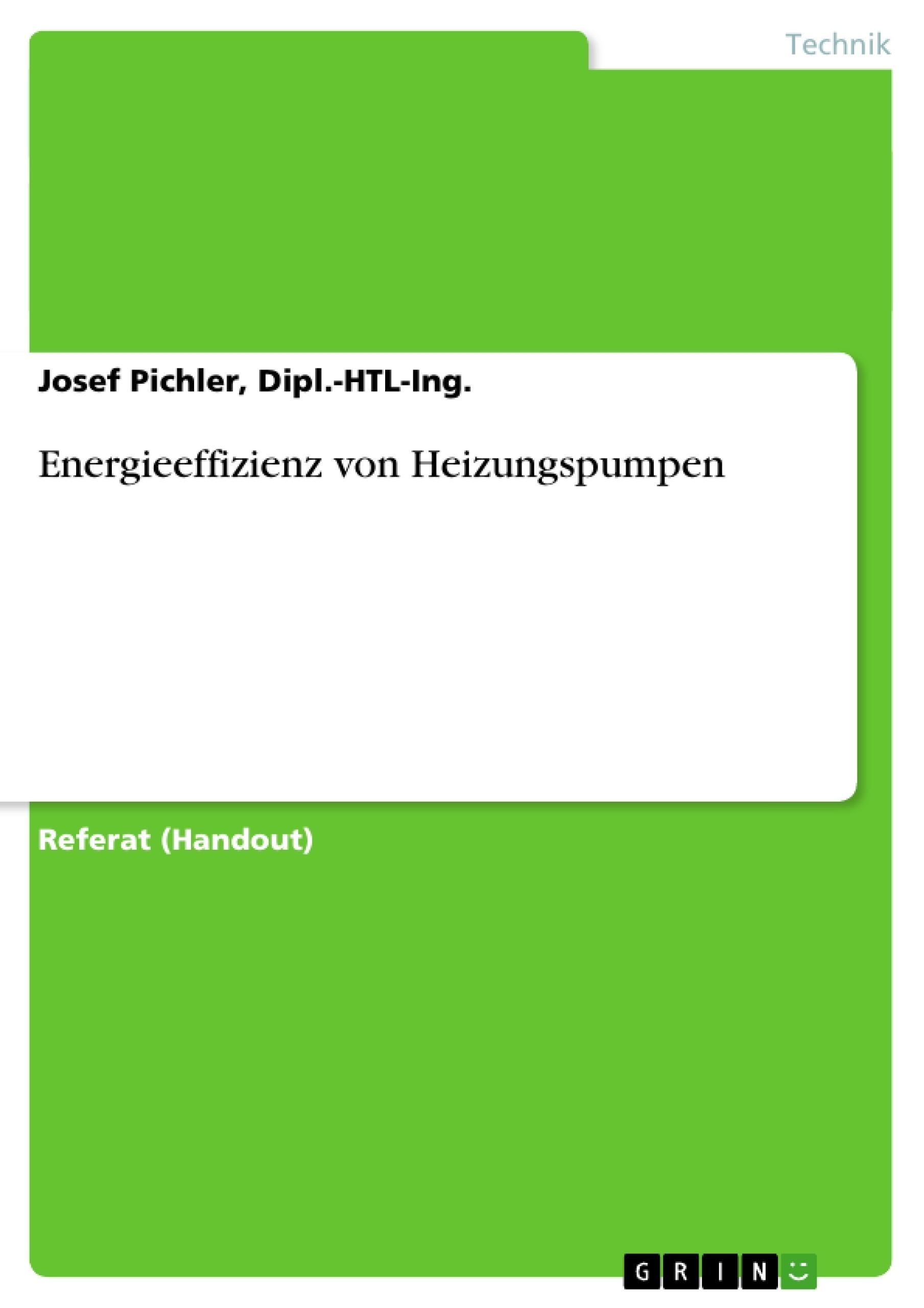 Titel: Energieeffizienz von Heizungspumpen