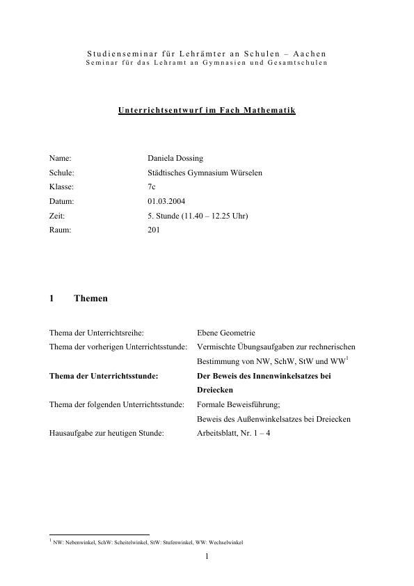 Beweis des Innenwinkelsatzes bei Dreiecken | Hausarbeiten publizieren