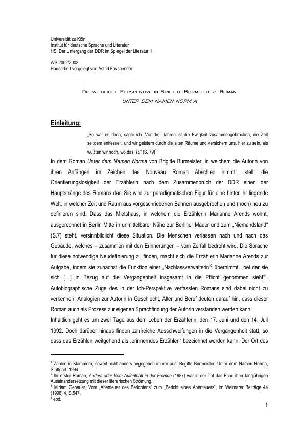 Titel: Die weibliche Perspektive in Brigitte Burmeisters Roman Norma