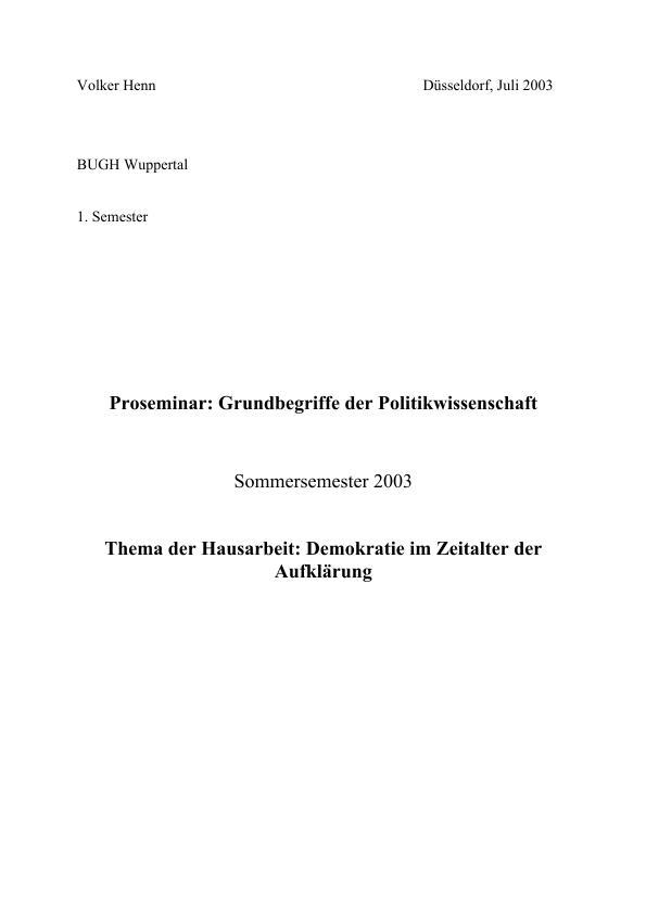 Titel: Demokratie im Zeitalter der Aufklärung