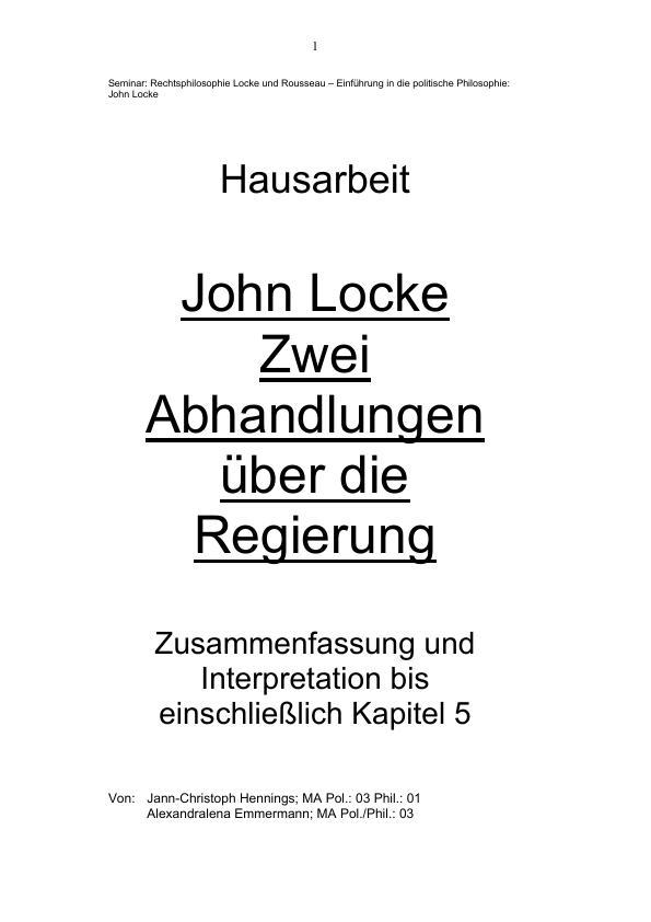 John Locke: Zwei Abhandlungen über die Regierung - Zusammenfassung ...
