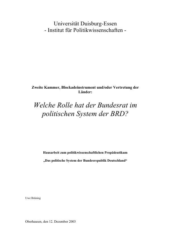 Titel: Welche Rolle hat der Bundesrat im politischen System der BRD?