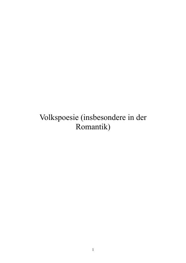 Titel: Volkspoesie (insbesondere in der Romantik)