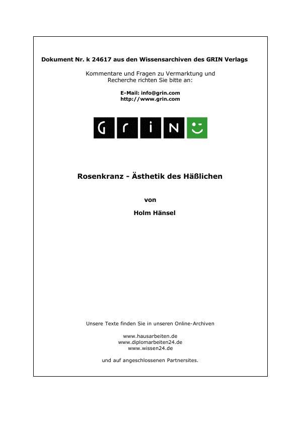 Titel: Rosenkranz - Ästhetik des Häßlichen