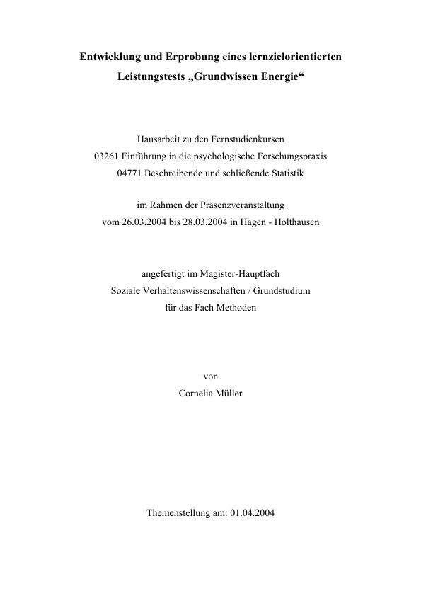 Titel: Entwicklung und Erprobung eines lernzielorientierten Leistungstests 'Grundwissen Energie'