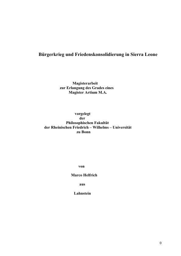 Titel: Bürgerkrieg und Friedenskonsolidierung in Sierra Leone