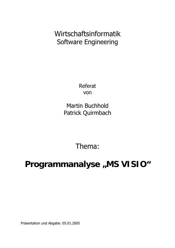 Titel: Programmanalyse VISIO