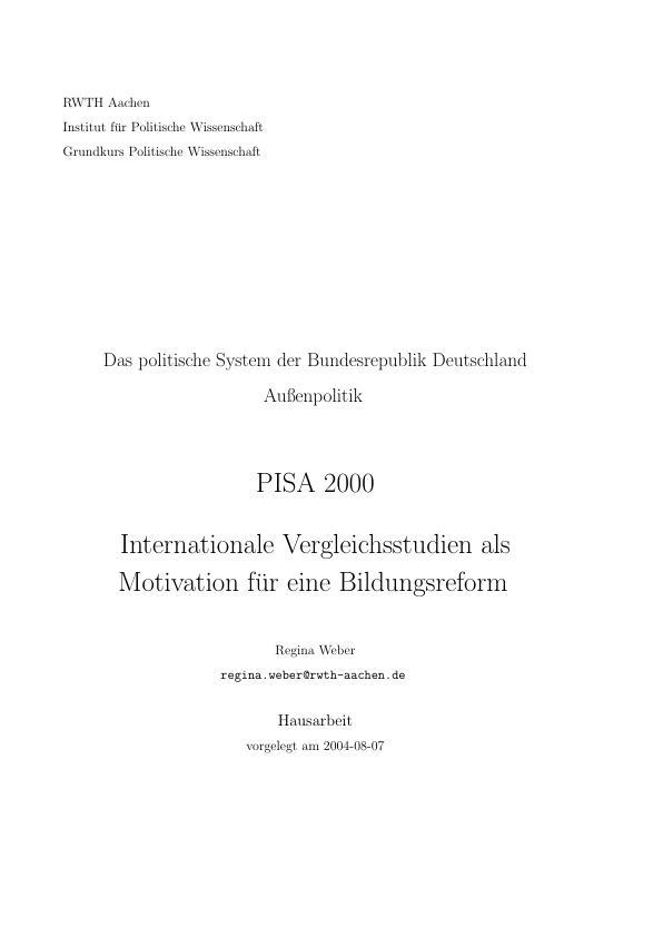 Titel: PISA 2000 - Internationale Vergleichsstudien als Motivation für eine Bildungsreform