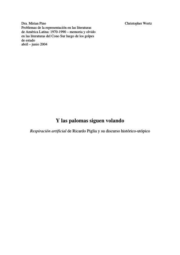Título: Riardo Piglia und sein historisch-utopischer Diskurs