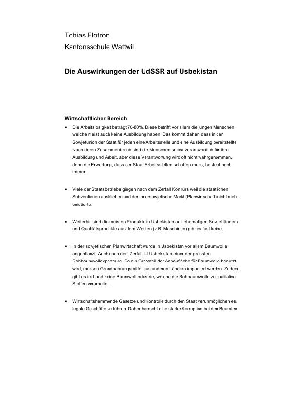 Titel: Auswirkungen der UdSSR auf Usbekistan