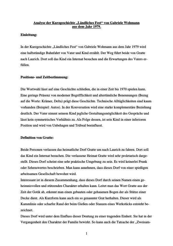 Titel: Wohmann, Gabriele - Ländliches Leben - Analyse der Kurzgeschichte