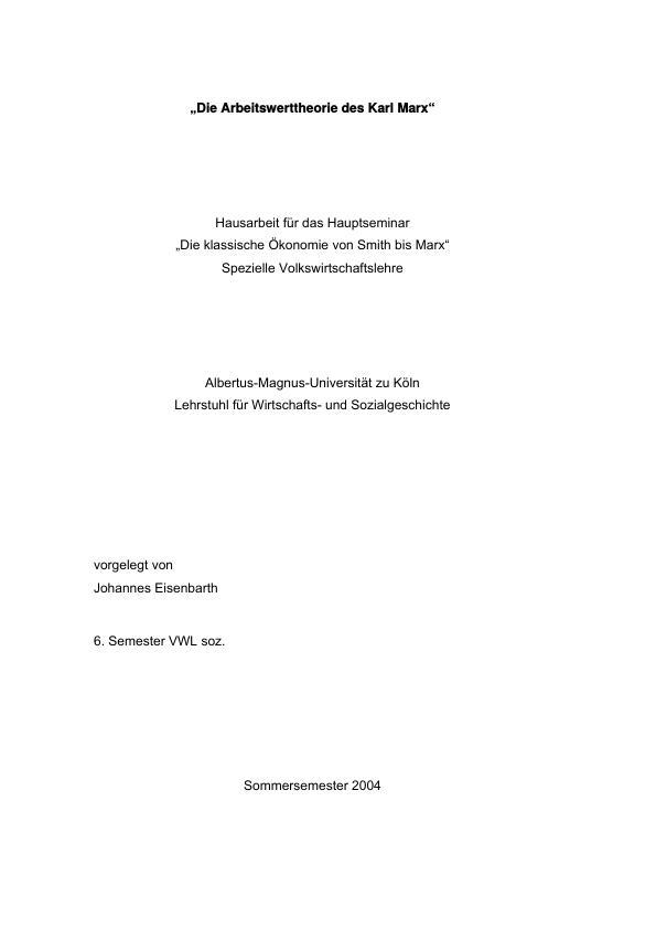 Titel: Die Arbeitswerttheorie des Karl Marx