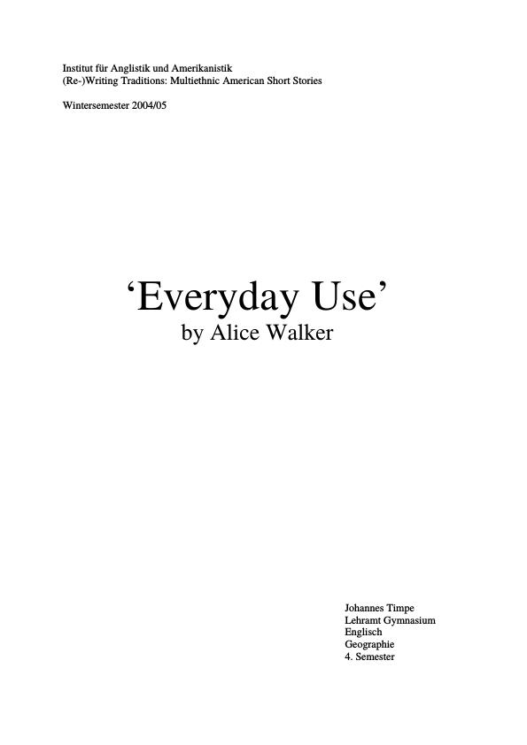 Title: Alice Walker - Everyday Use