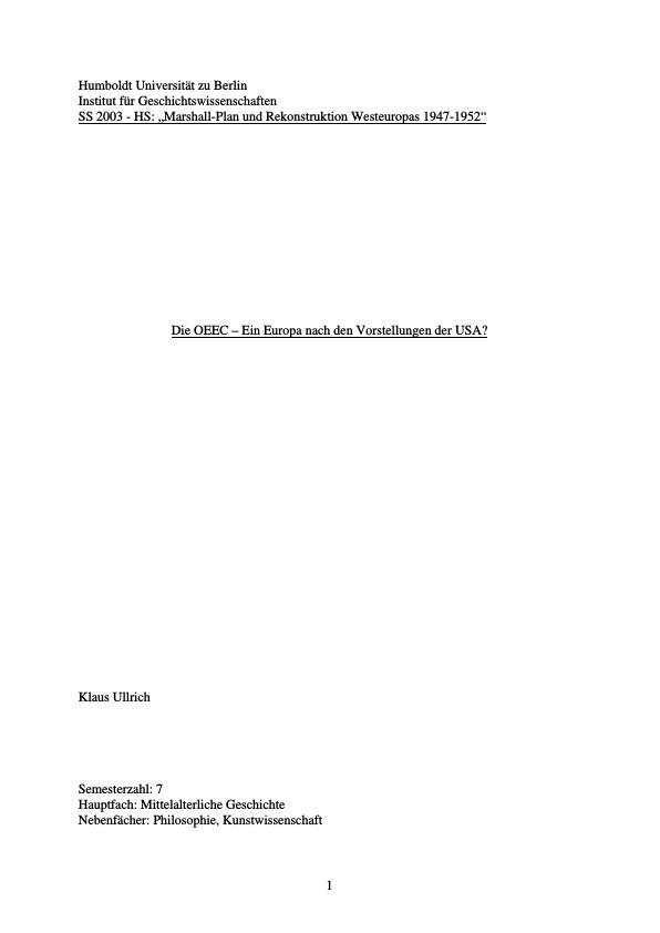 Titel: Die OEEC - Ein Europa nach den Vorstellungen der USA?