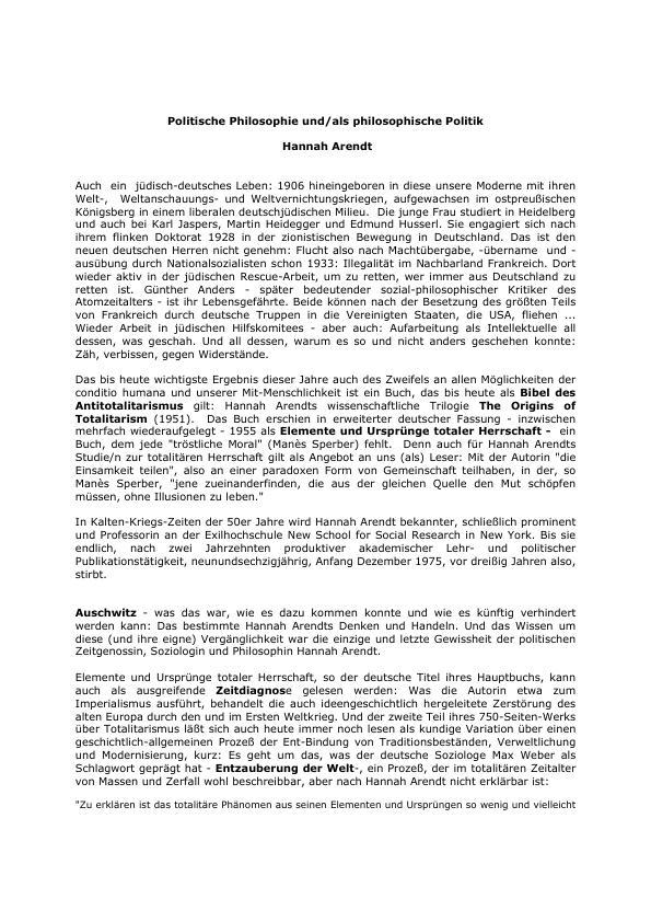 Titel: Politische Philosophie und/als philosophische Politik - Hannah Arendt