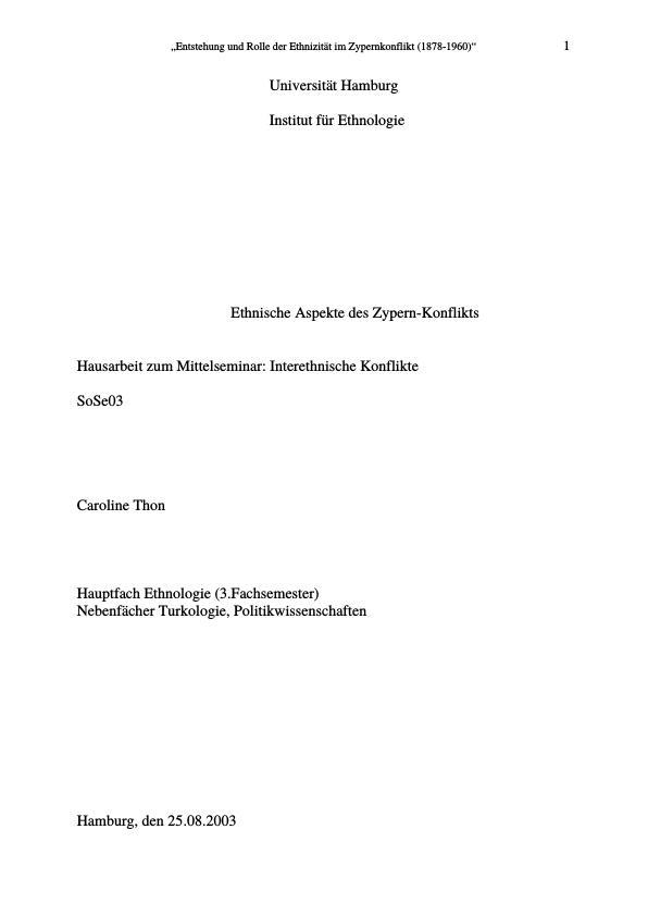 Titel: Ethnische Aspekte des Zypern-Konflikts