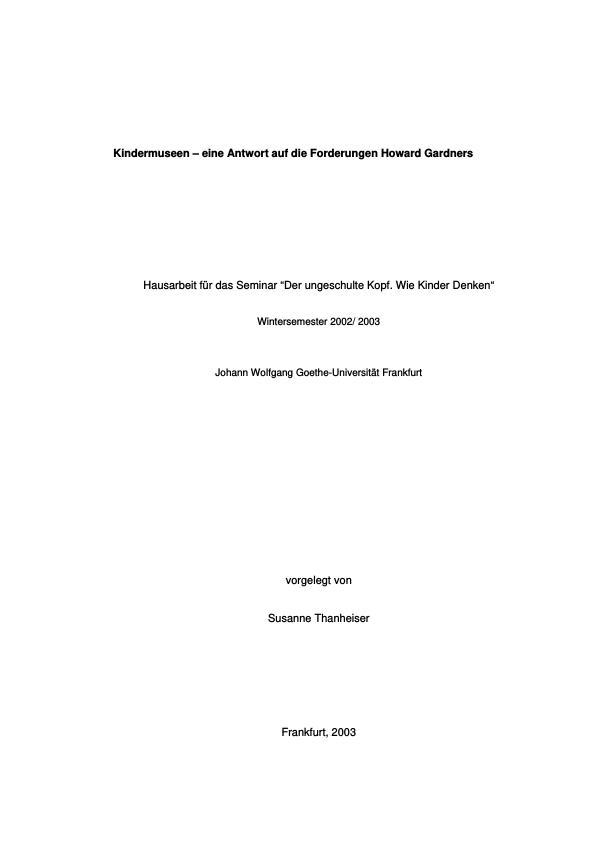 Titel: Kindermuseen - eine Antwort auf die Forderungen Howard Gardners