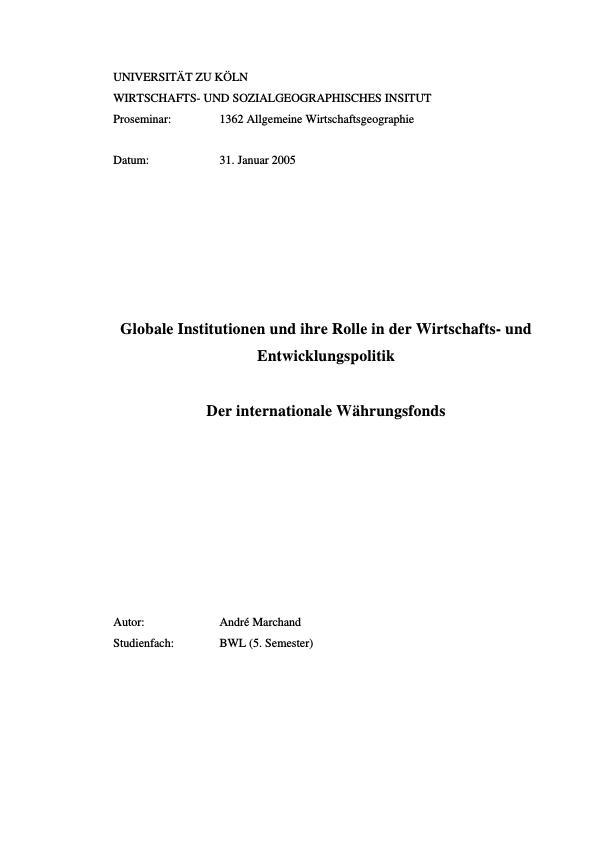 Titel: Der internationale Währungsfonds (IWF)