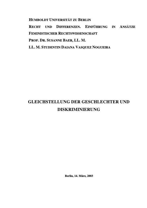 Titel: Gleichstellung der Geschlechter und Diskriminierung