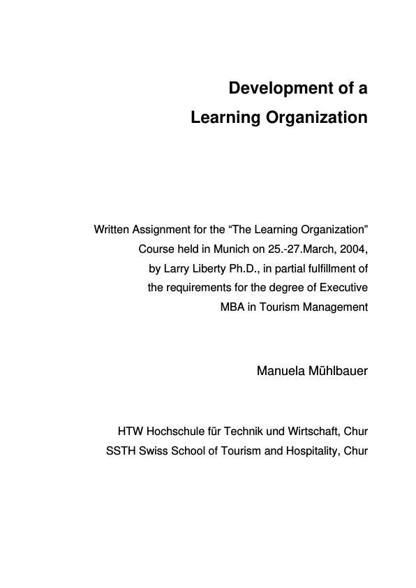 Title: Development of a Learning Organization