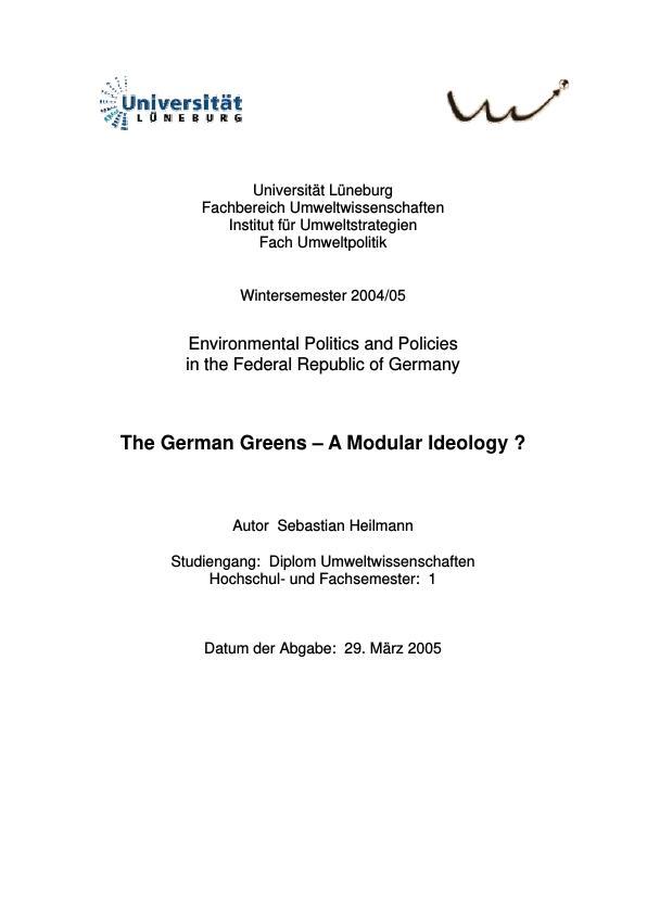 Title: The German Greens - A Modular Ideology ?