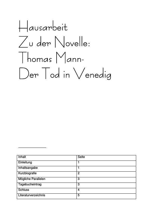 Zu Der Novelle Thomas Mann Der Tod In Venedig Masterarbeit