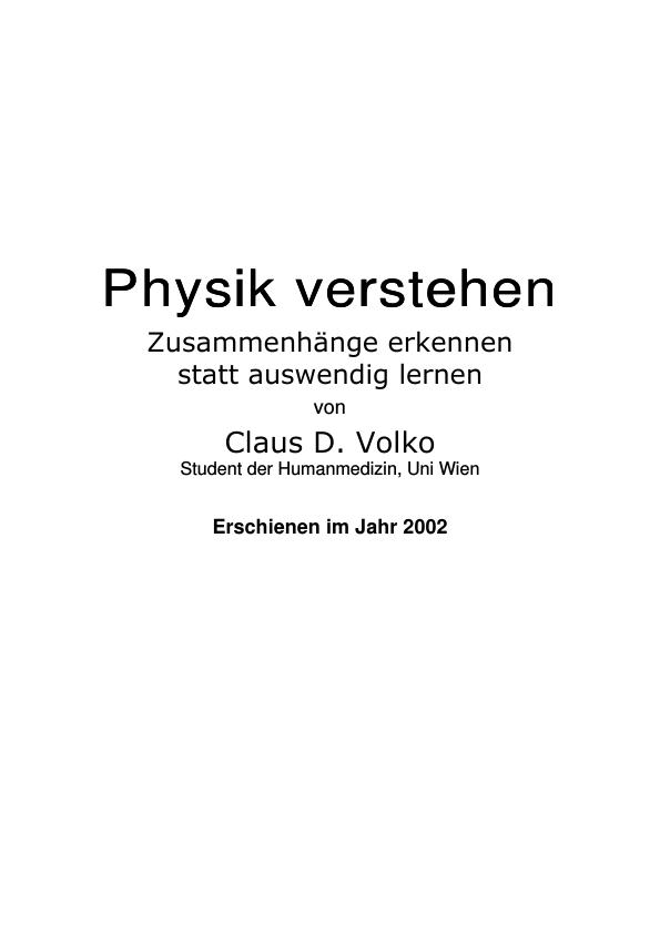 Titel: Physik verstehen - Zusammenhänge erkennen statt auswendig lernen