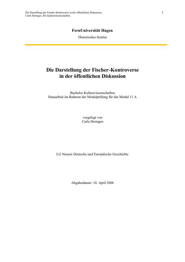 Titel: Die Darstellung der Fischer-Kontroverse in der öffentlichen Diskussion