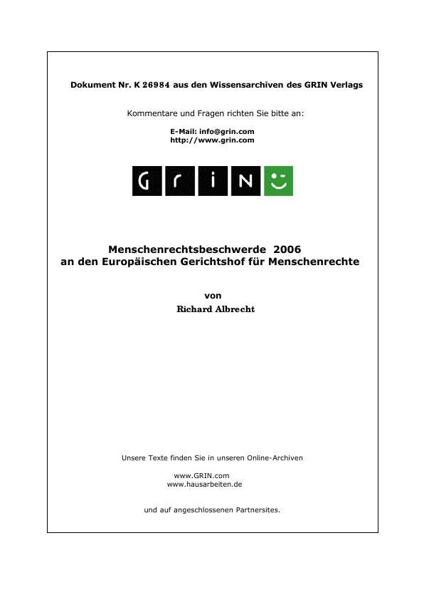 Titel: Menschenrechtsbeschwerde  2006 an den Europäischen Gerichtshof für Menschenrechte