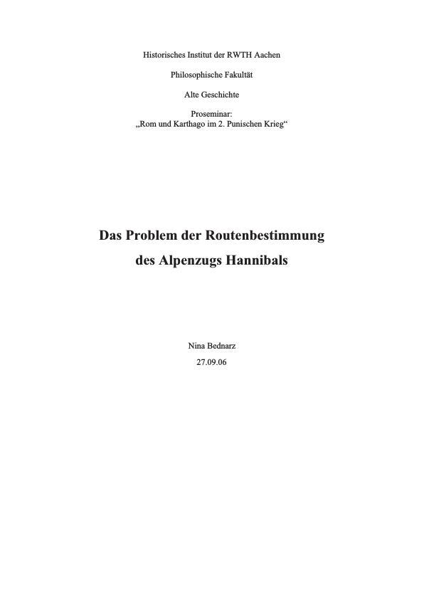 Titel: Das Problem der Routenbestimmung des Alpenzugs Hannibals