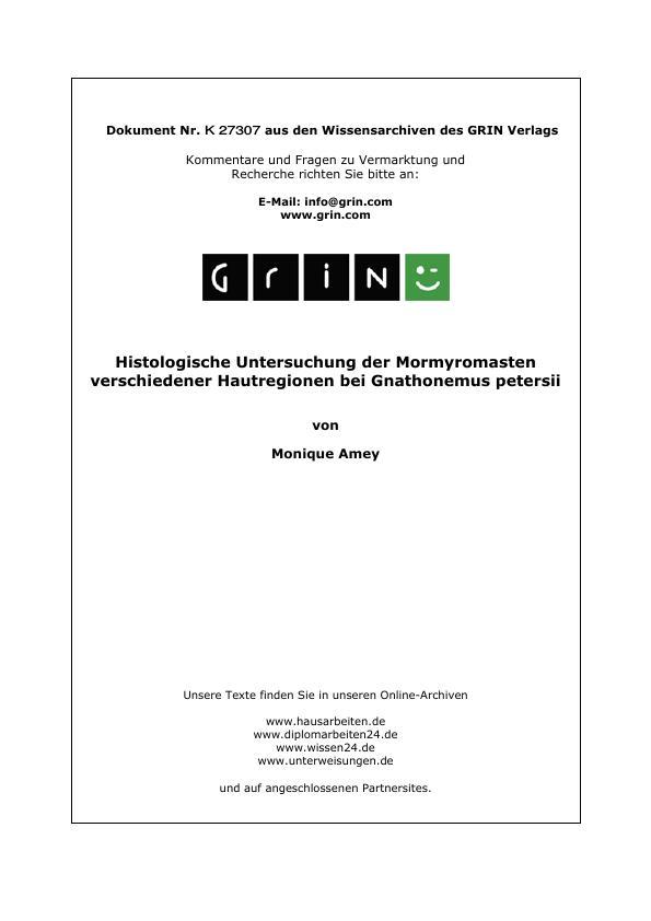 Titel: Histologische Untersuchung der Mormyromasten verschiedener Hautregionen bei Gnathonemus petersii