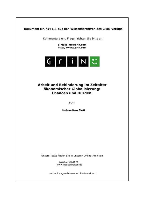 Titel: Arbeit und Behinderung im Zeitalter ökonomischer Globalisierung: Chancen und Hürden