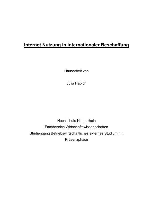 Titel: Internet Nutzung in internationaler Beschaffung