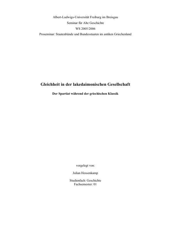 Titel: Gleichheit in der lakedaimonischen Gesellschaft - Der Spartiat während der griechischen Klassik