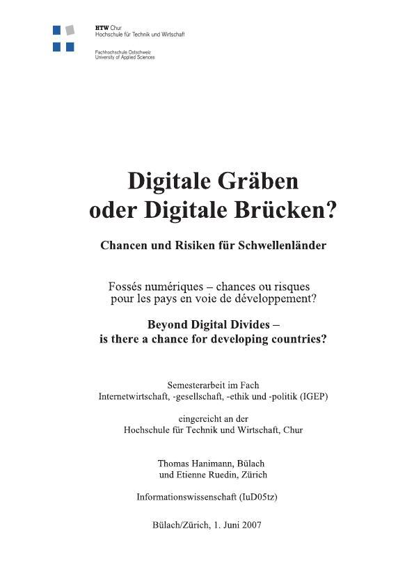 Titel: Digitale Gräben oder Digitale Brücken?  -  Chancen und Risiken für Schwellenländer