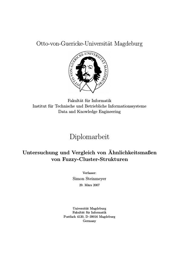 Titel: Untersuchung und Vergleich von Ähnlichkeitsmaßen von Fuzzy-cluster-Strukturen