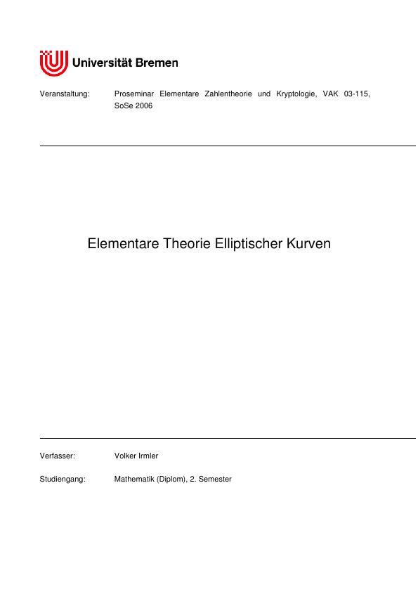 Titel: Elliptische Kurven - Elementare Theorie derselben