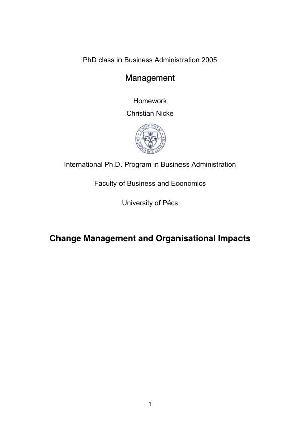 Title: Change Management and Organisational Impacts