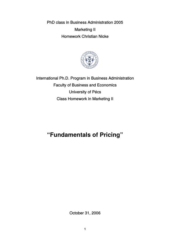Title: Fundamentals of Pricing
