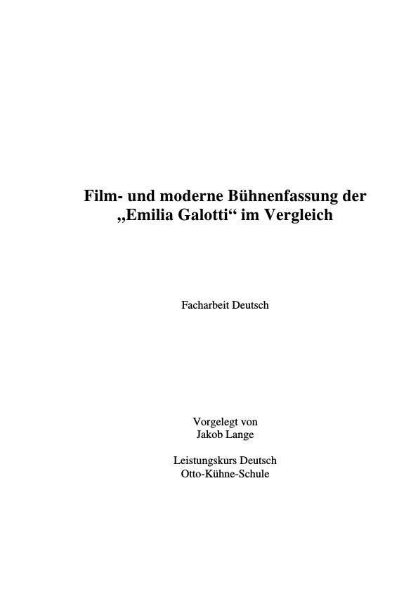 """Titel: Lessing, G. E. - Emilia Galotti - Film- und moderne Bühnenfassung der """"Emilia Galotti"""" im Vergleich"""