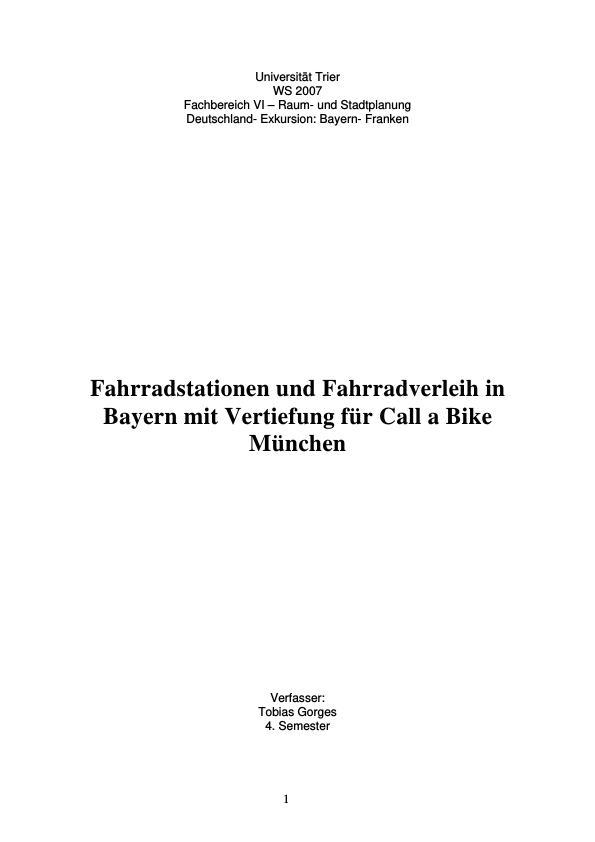 Titel: Fahrradstationen und Fahrradverleih in Bayernmit mit Vertiefung für Call a Bike in München