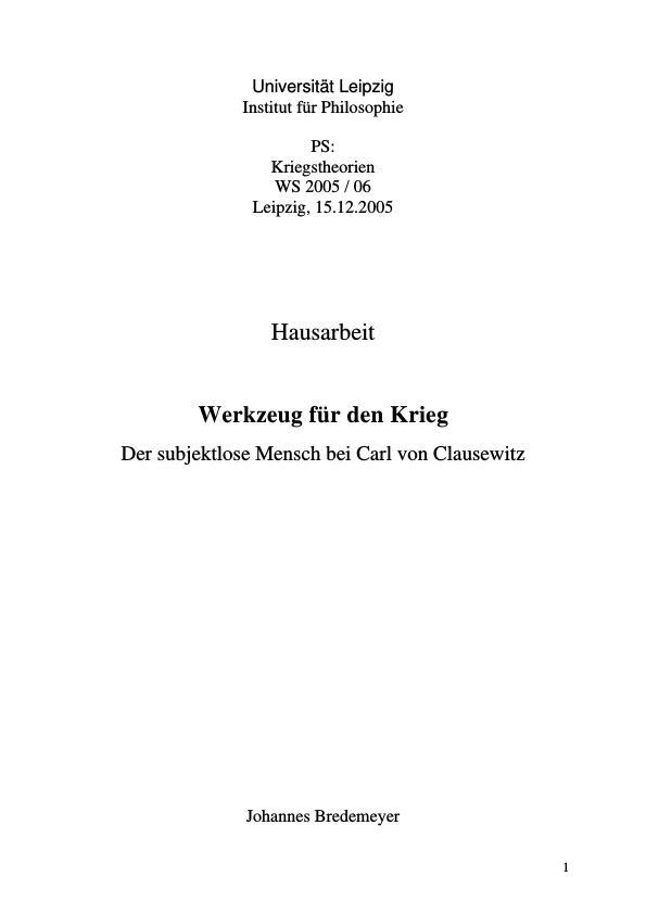 Titel: Werkzeug für den Krieg  -  Der subjektlose Mensch bei Carl von Clausewitz