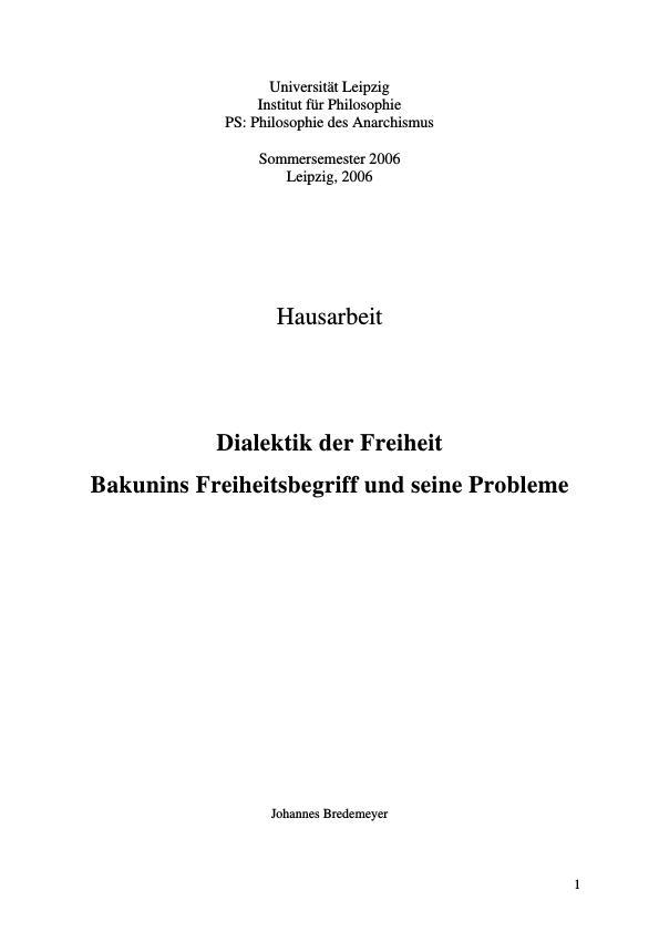 Titel: Dialektik der Freiheit  -  Bakunins Freiheitsbegriff und seine Probleme