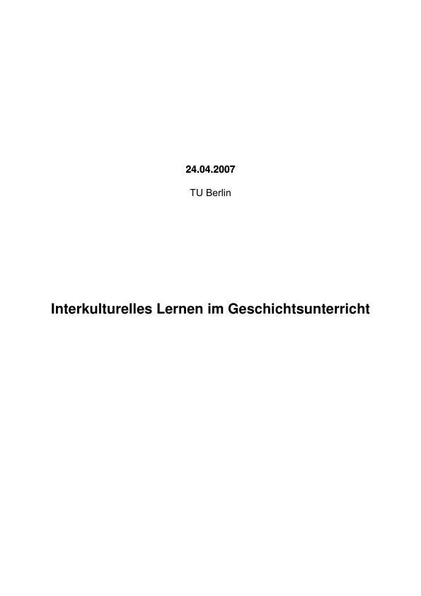 Titel: Interkulturelles Lernen im Geschichtsunterricht