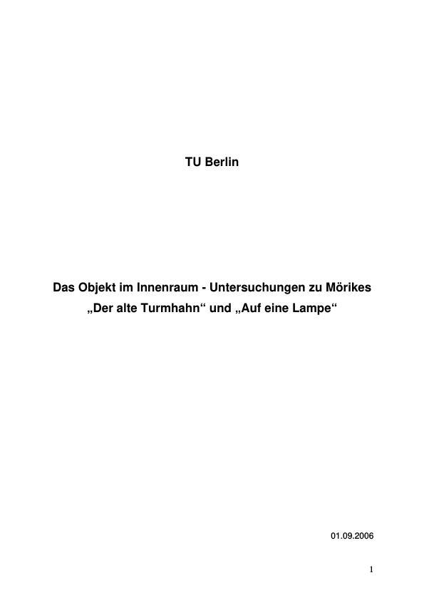 """Titel: Untersuchungen zu Mörikes """"Der alte Turmhahn"""" und """"Auf eine Lampe"""""""