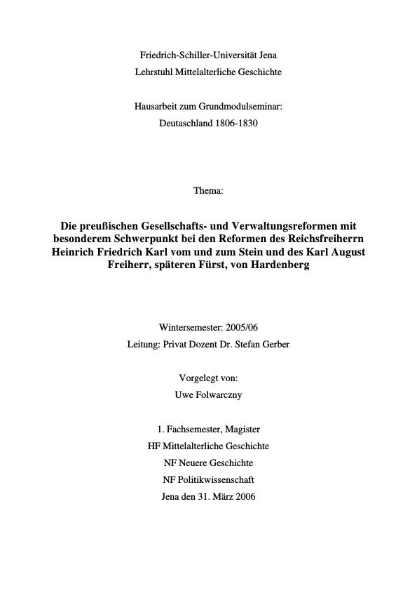 Titel: Die preußischen Gesellschafts- und Verwaltungsreformen. Heinrich Friedrich Karl vom und zum Stein und Karl August von Hardenberg