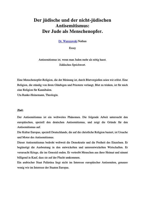 Titel: Der jüdische und der nicht-jüdischen Antisemitismus  -  Der Jude als Menschenopfer