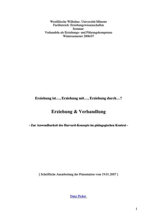 Titel: Erziehung und Verhandlung  -  Zur Anwendbarkeit des Harvard-Konzepts im pädagogischen Kontext