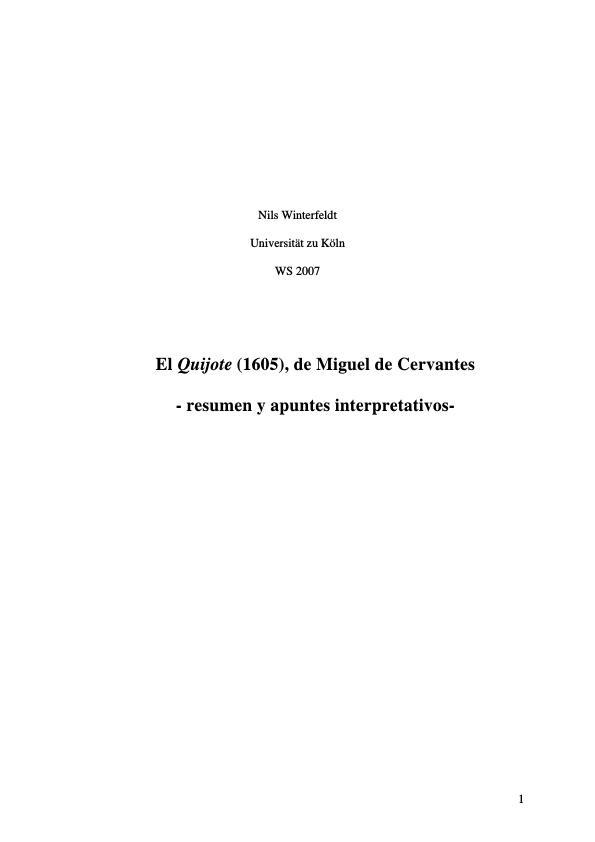 """Título: El """"Quijote"""" (1605), de Miguel de Cervantes  -  resumen y apuntes interpretativos"""